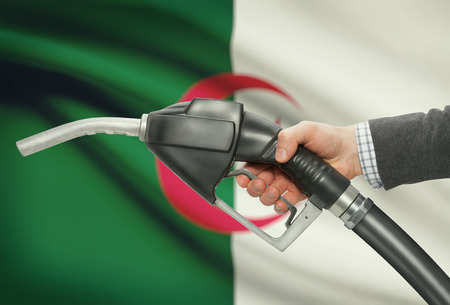 petrochemistry: Fuel pump nozzle in hand with flag on background - Algeria