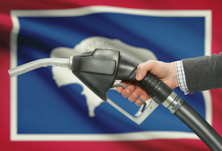 petrochemistry: Fuel pump nozzle in hand with US states flags on background - Wyoming Stock Photo