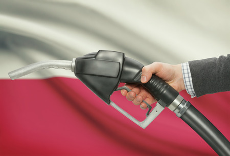petrochemistry: Fuel pump nozzle in hand with flag on background - Poland