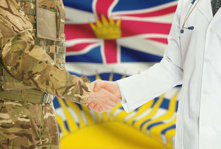 american hero: Soldier in uniform and doctor shaking hands with Canadian provincies and territories flags on background - British Columbia
