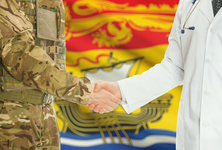 american hero: Soldier in uniform and doctor shaking hands with Canadian provincies and territories flags on background - New Brunswick
