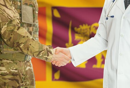 sri lankan flag: Soldier in uniform and doctor shaking hands with national flag on background - Sri Lanka