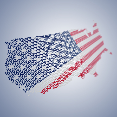 Conceptual series of USA flags formed and shaped creatively - binary code Фото со стока