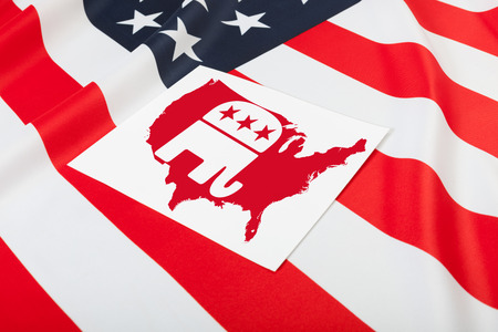 republican party: Flags series - flag of United States of America with republican party symbol over it