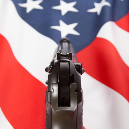 federal police: Part of series of national flags with hand gun over it - United States of America Stock Photo