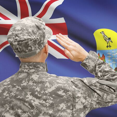 National military forces with flag on background conceptual series - Saint Helena Stock Photo
