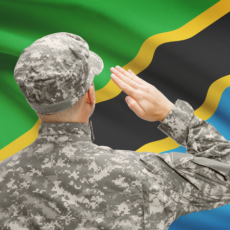 National military forces with flag on background conceptual series - Tanzania