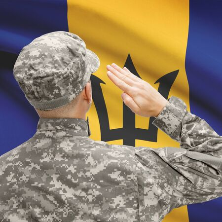 National military forces with flag on background conceptual series - Barbados