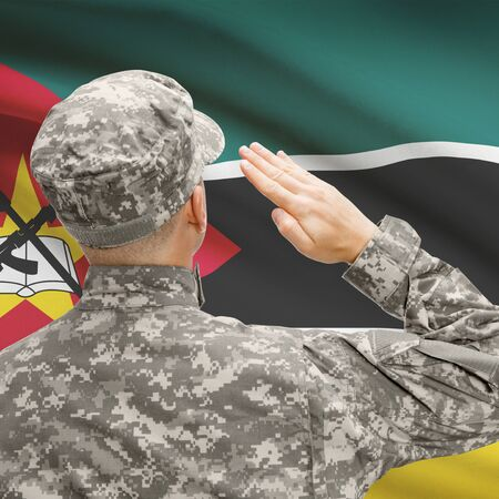 National military forces with flag on background conceptual series - Mozambique