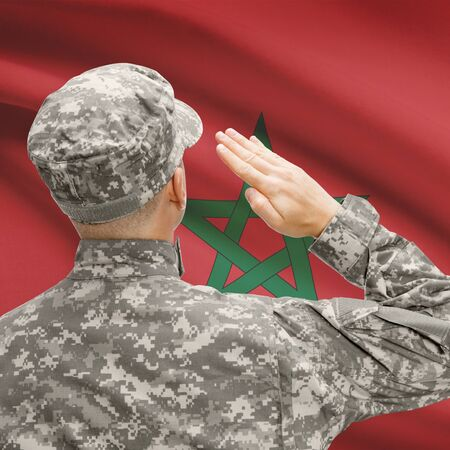 National military forces with flag on background conceptual series - Morocco Stock Photo