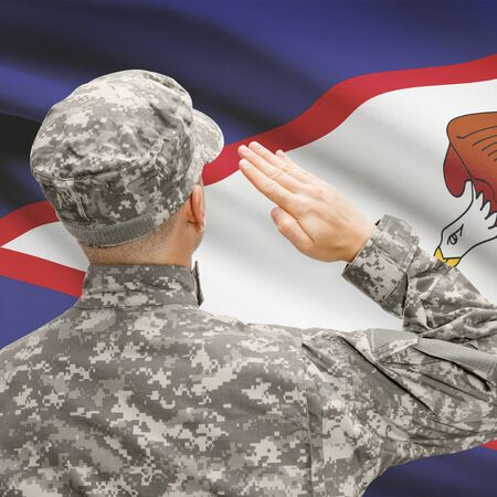 National military forces with flag on background conceptual series - American Samoa