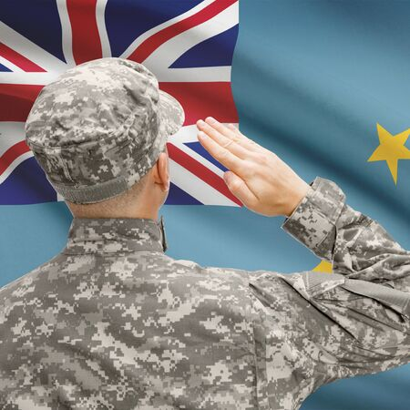 National military forces with flag on background conceptual series - Tuvalu Stock Photo