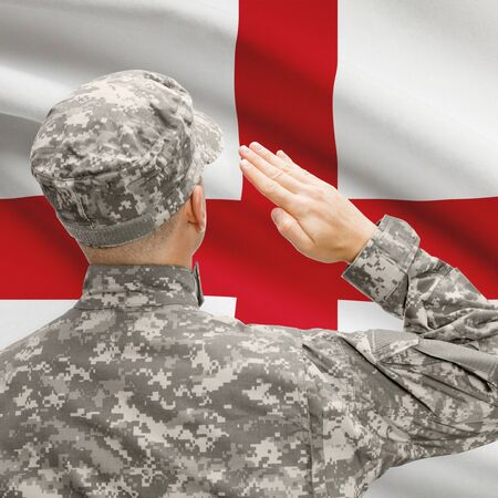 National military forces with flag on background conceptual series - England