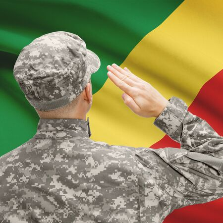 National military forces with flag on background conceptual series - Congo-Brazzaville