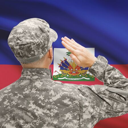 sovereignty: National military forces with flag on background conceptual series - Haiti