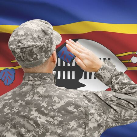 National military forces with flag on background conceptual series - Swaziland Stock Photo