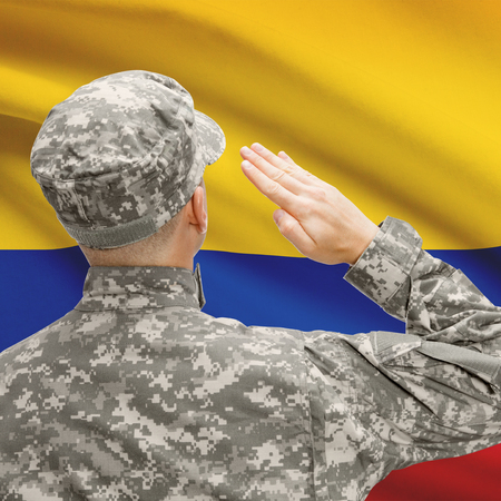 troop: National military forces with flag on background conceptual series - Colombia