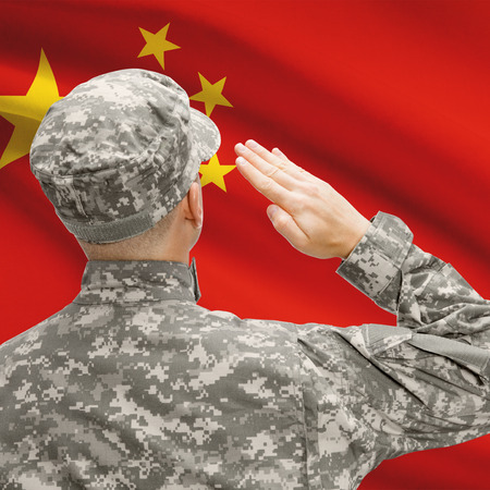 National military forces with flag on background conceptual series - China