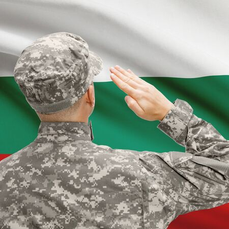 National military forces with flag on background conceptual series - Bulgaria