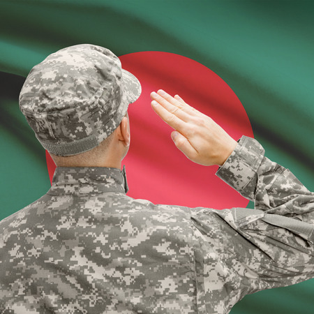 National military forces with flag on background conceptual series - Bangladesh Stock Photo