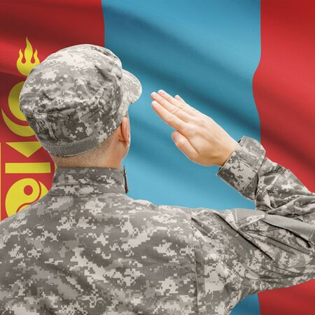 troop: National military forces with flag on background conceptual series - Mongolia Stock Photo