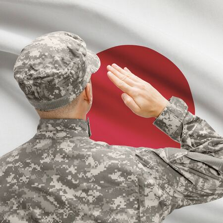 National military forces with flag on background conceptual series - Japan Stock Photo