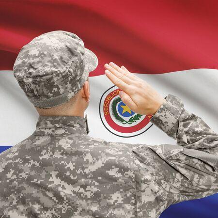 bandera de paraguay: National military forces with flag on background conceptual series - Paraguay Foto de archivo