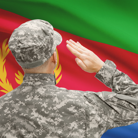National military forces with flag on background conceptual series - Eritrea Stock Photo