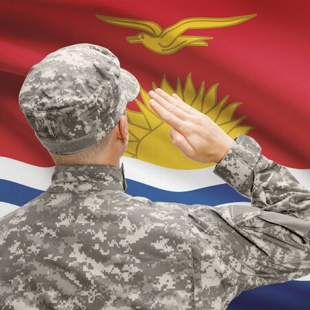 National military forces with flag on background conceptual series - Kiribati Stock Photo