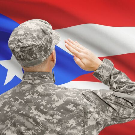 bandera de puerto rico: National military forces with flag on background conceptual series - Puerto Rico