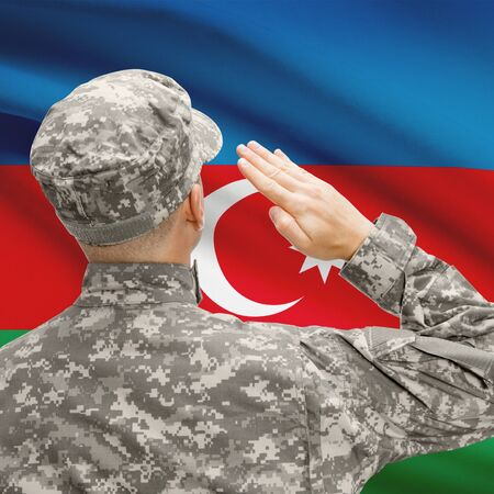 National military forces with flag on background conceptual series - Azerbaijan