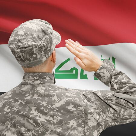 National military forces with flag on background conceptual series - Iraq