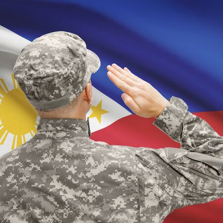 National military forces with flag on background conceptual series - Philippines