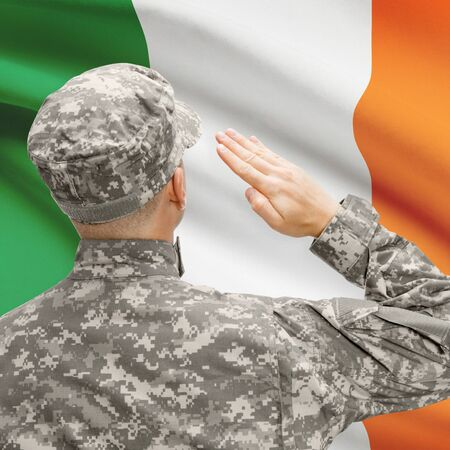 National military forces with flag on background conceptual series - Ireland