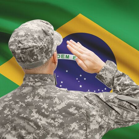 National military forces with flag on background conceptual series - Brazil