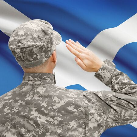 National military forces with flag on background conceptual series - Scotland