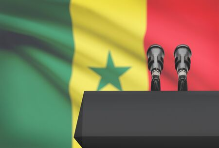 Pulpit and two microphones with a flag on background - Senegal