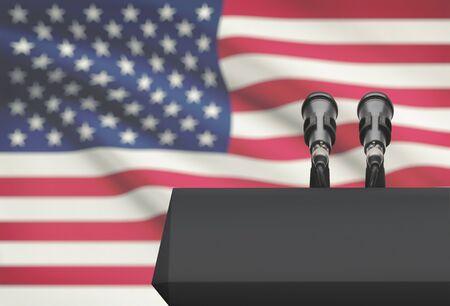 Púlpito y dos micrófonos con una bandera en el fondo - Estados Unidos
