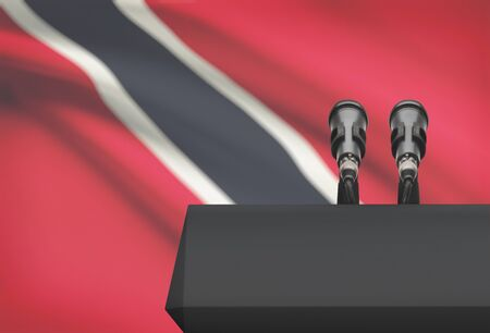Pulpit and two microphones with a flag on background - Trinidad and Tobago