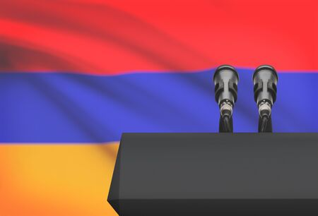 control de calidad: Pulpit and two microphones with a flag on background - Armenia