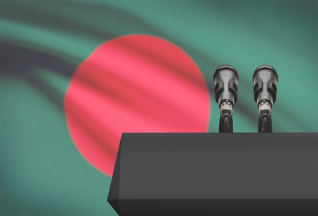 control de calidad: Pulpit and two microphones with a flag on background - Bangladesh