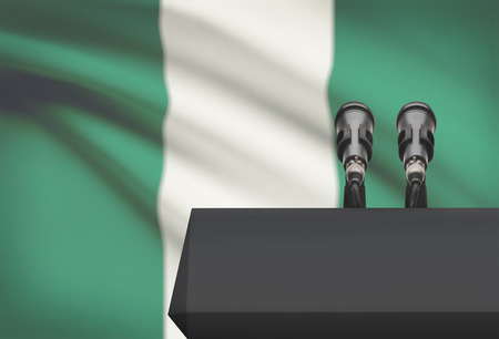 Pulpit and two microphones with a flag on background - Nigeria