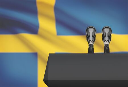 Pulpit and two microphones with a flag on background - Sweden