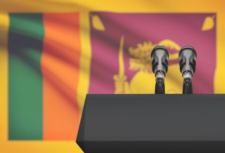control de calidad: Pulpit and two microphones with a flag on background - Sri Lanka