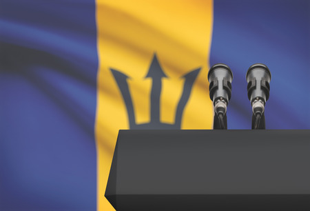 Pulpit and two microphones with a flag on background - Barbados