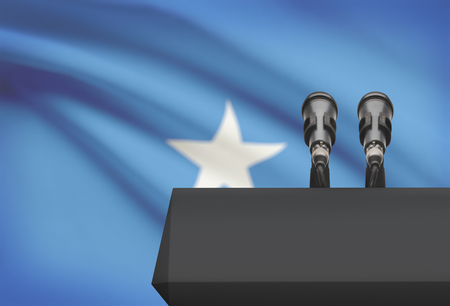 Pulpit and two microphones with a flag on background - Somalia Stock Photo