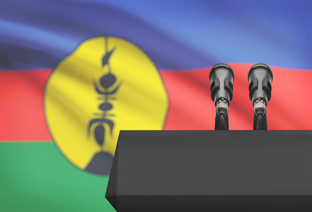 new caledonia: Pulpit and two microphones with a flag on background - New Caledonia Stock Photo