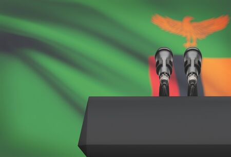 Pulpit and two microphones with a flag on background - Zambia Stock Photo