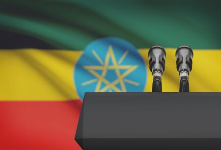 national flag ethiopia: Pulpit and two microphones with a flag on background - Ethiopia