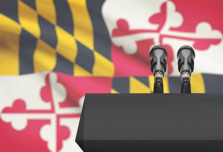 maryland flag: Pulpit and two microphones with US state flag on background - Maryland